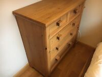 OILED PINE bed, chest of drawers and underbed storage