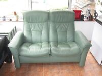 Stressless by Ekornes high quality2 seater recliner green leather conservatory/lounge settee/sofa.