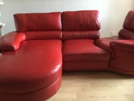 Red corner leather suite