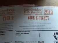 2 x Friday tickets Cambridge folk festival. Friday 3rd August 2018 £80 each