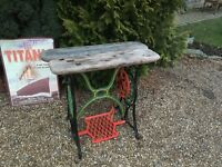 Treadle sewing machine base ....with wooden top