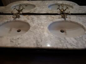 Italian Marble Sink Top with 2 sinks and mixer taps.