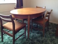 1960s/1970s dining table & four chairs