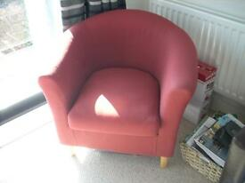 Tub chair (Terracotta red fabric)
