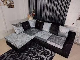 **SPECIAL OFFER** BRAND NEW JULIE CRUSH VELVET CORNER SOFA OR (3+2) EXPRESS DELIVERY!!!