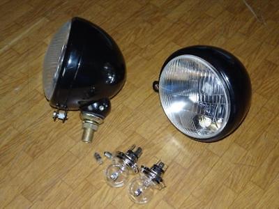 2 x Scheinwerfer mit 6 Volt Lampen Oldtimer Schlepper Traktor Metall Bilux 6V