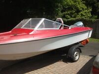 picton speedboat trailer and 90hp evinrude outboard 17feet long