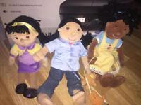 3 puppet company rag dolls like new