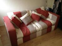 Striped feather cushion sofa with arm chair