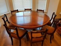 Cherry and Walnut Dining Table and Chair Set (Good condition)