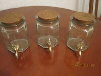 Vintage glass jars with taps, hand made in Spain, La Mediterranea, each � 10