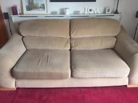 Beige 3 seater sofa plus 1 armchair
