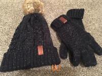 Superdry hat and gloves set ladies