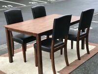 Dining Table and 4 leather Chairs (@07519500790)