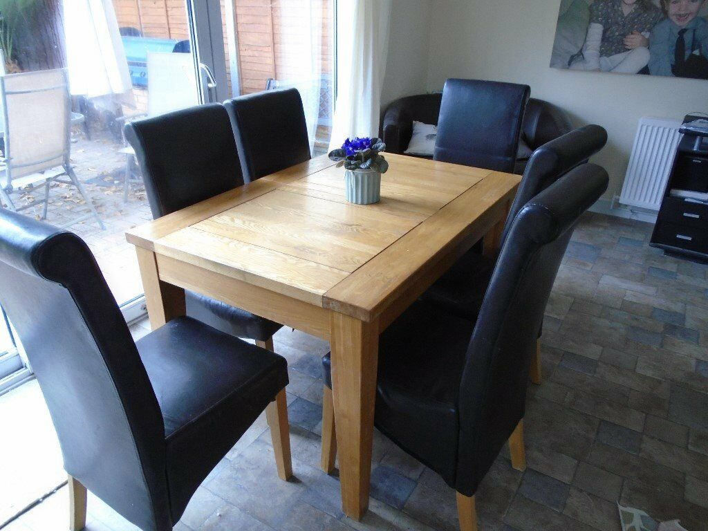 for sale solid oak extending table with 6 chairs