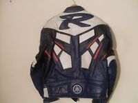 Yamaha R Blue/red/ Black/White Real Cowhide Leather Motorcycle Motorbike Biker Jacket.Size, medium