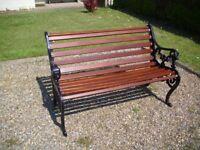 Antique Cast Iron Lions Head Garden Bench Hardwood Slats Refurbished 4ft