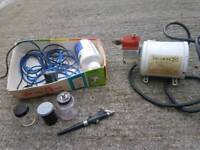 Spray gun and compressor