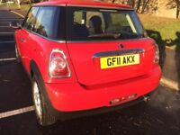 BMW Mini one 2011, red, low millage, 1 year MOT , 1.6 petrol