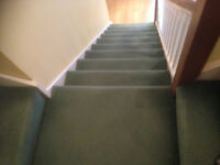 Green Stairs and landing carpet with underlay and gripper