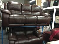New/Ex Display Brown LazyBoy High Grade Leather 3 + 2 Seater Recliner Sofas