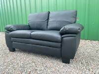 DELIVERY INCLUDED - COMPACT BLACK FAUX LEATHER TWO SEATER SOFA
