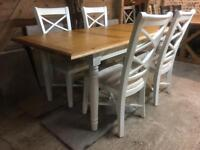 Oak Kitchen Dining Table & 4 Cream Painted Chairs BRAND NEW