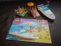 3 sets of Lego friends Olivia's speedboat, Olivia's icecream bike, andrea's bedroom