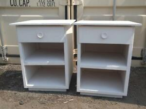 2 Retro Bedside Tables Vintage Just Painted Clean White Oakville Two Matching Nightstands Bedroom