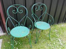 2 X VINTAGE FRENCH METAL GARDEN GREEN PAINTED CHAIRS STRONG STURDY