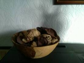Wooden art's & craft bowl with contents