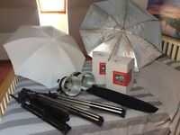 Photography Studio Lighting Kit with 4 tungsten lights and umbrellas