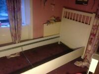 White IKEA single bed frame, good condition, with screws, no slats