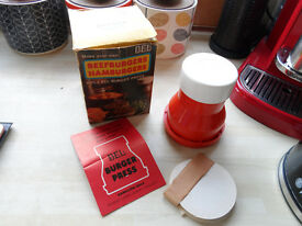 VINTAGE BEL BEEFBURGER HAMBURGER PRESS IN BOX & INSTRUCTIONS