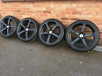 "18"" black j type alloy wheels , 5x112, Audi A3 a4 vw golf polo seat Leon alloys Mercedes"
