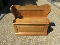 PINE MONKS BENCH. STORAGE PEW / SETTLE. Delivery possible. MORE CHURCH PEWS, CHAPEL CHAIRS & BENCHES