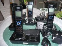 Set of 4 iDECT cordless home phones, with docking station.