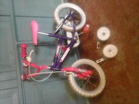 "Pink ""magna wild"" bike with 14inch wheels & stabilisers"