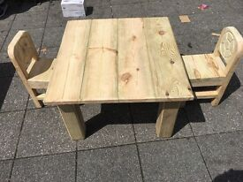 BRAND NEW TABLE + 2 CHAIRS HAND MADE KIDS SIZE