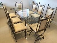 Dining table, glass top, 8 chairs, excellent condition
