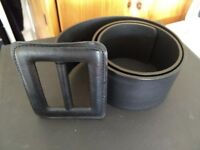 Ladies wide black leather belt