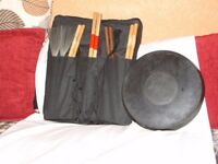 Variety of Drum Sticks,Brushes,Pad, with soft Case