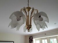 Light fitting, for lounge, dining room, hall etc. Opaque glass shades and brass fittings.