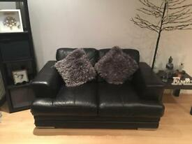 2 x2 seater sofas from dfs in black leather