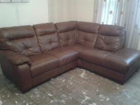 5 Seater leather corner sofa