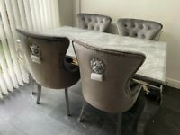 Brand new 4 lion chairs grey plush 1.5m grey marble table £899