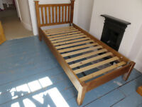 Lovely wooden single bed and mattress