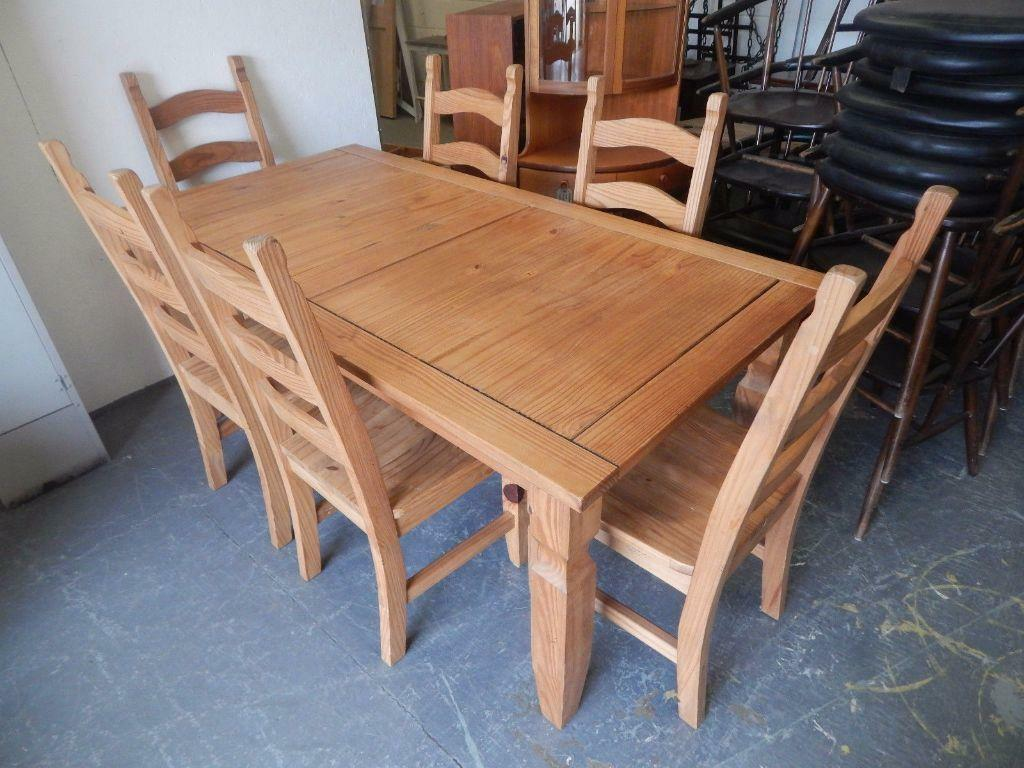 solid mexican pine dining table and six chairs in norwich norfolk