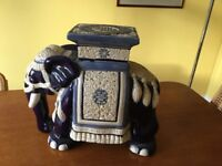 Beautiful blue and white pottery elephant table
