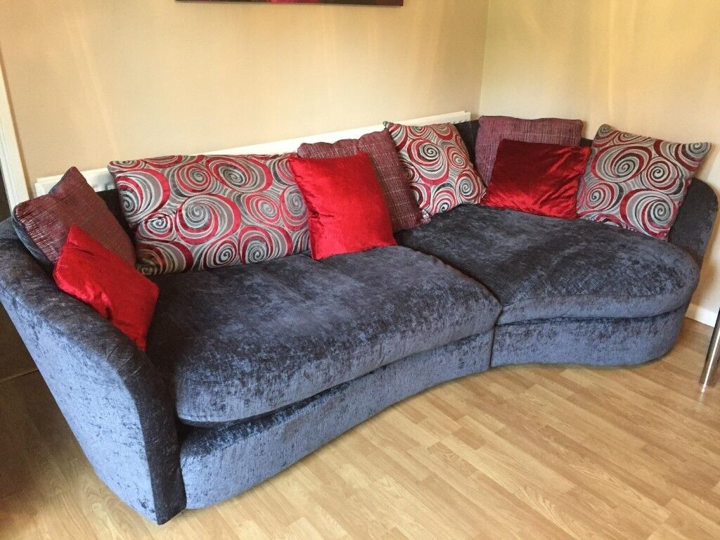 Large velvet sofa with matching swivel cuddle chair | in ...